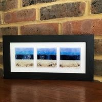 Seascape with rocks triptych fused glass picture, 5x12ins frame. Celebration.