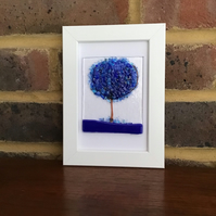 Blue blossom tree original fused glass picture in 6x4 frame. Birthday.