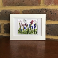 Flowers fused glass picture in 6x4 frame. Birthday, anniversary, celebration.