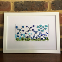 Blue flowers fused glass picture in white A4 frame. Birthday, celebration.