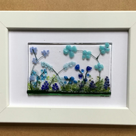 Blue flowers fused glass picture, 6x4 frame. Birthday, anniversary, celebration.