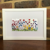 Summer flowers fused glass picture in white A4 frame. Birthday, anniversary.