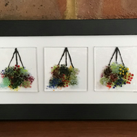 3 hanging baskets fused glass picture, 4x11 black frame. Birthday, anniversary.