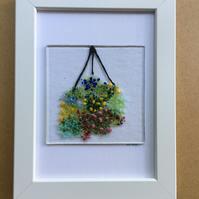 Hanging basket flowers fused glass picture in 5x7ins white frame.