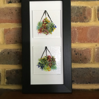 Hanging baskets fused glass picture in 4x11 frame. Birthday, anniversary.