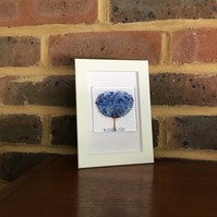 Blue blossom tree original fused glass picture in 6x4 frame.