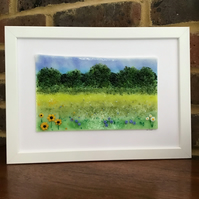 Meadow landscape in fused glass, 9x11 white frame. Birthday, anniversary.