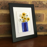 Sunflowers and daisies in blue vase with detail fused glass picture in 5x7 frame