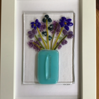 Blue and lilac flowers in vase fused glass picture in 6x4 frame. Birthday.