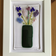 Blue and pink flowers in vase fused glass picture in 6x4 frame.