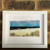 Seascape picture in fused glass in 10x8 frame. Birthday, anniversary.