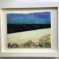 Seascape picture in fused glass in 10x12 frame. Birthday, anniversary.