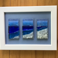 Seascape with rocks triptych fused glass picture in 6x9 frame.