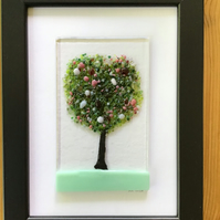 Tree in blossom  fused glass picture in 5x7 frame. Birthday, anniversary.