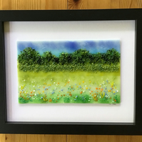 Meadow landscape picture in fused glass in 9x11 frame. Birthday, anniversary.