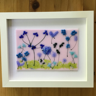 Blue flowers in the pink fused glass picture, 9x11 frame. Birthday, anniversary