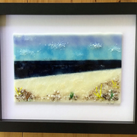 Seascape picture in fused glass in 9 x11 frame. Birthday, anniversary.