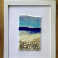 Sea and beach fused glass picture in 9x11 frame. Birthday, anniversary.