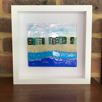 Seaside beach fused glass picture in 10x10 frame. Birthday, anniversary.