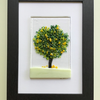 Lemon tree fused glass picture in black 5x7ins frame. Birthday, anniversary.