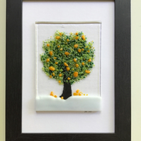 Orange tree fused glass picture in black 5x7ins frame. Birthday, anniversary.