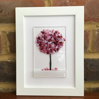 Pink blossom tree fused glass picture in 5x7ins frame. Birthday, anniversary.