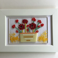Red flowers in vase fused glass picture in 6 x4 frame. Birthday, anniversary.