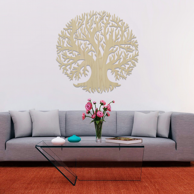 Tree of Life Hanging Modern Contemporary Wooden Wall Art Decor 027-04