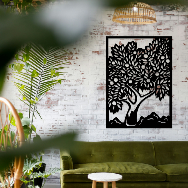 Tree Of Life In Frame Hanging Modern Wall Art B Folksy