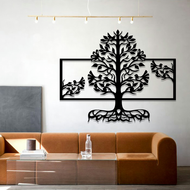 Decorative Panel Tree with Birds Hanging Modern Contemporary Wall Art 040