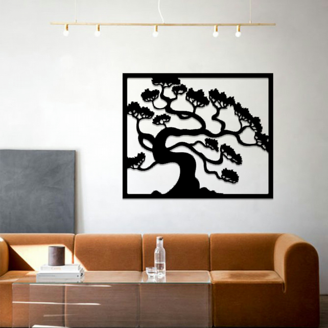 Tree of Life in Frame Acrylic Hanging Modern Wall Art Black Silver Gold 072