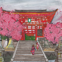 Kiyomizudera Temple in Kyoto with Sakura Blossom (Mixed Media Art Piece)