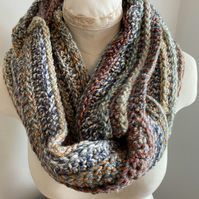 Crochet Cowl Handmade Infinity Circle Scarf Colour is Multicoloured and Grey Mix