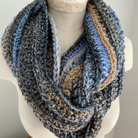 Crochet Cowl Handmade Infinity Circle Scarf Colour in Denim