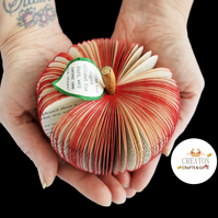 Red Apple made from a Book with a personalised leaf