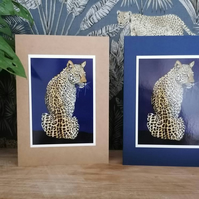 Leopard Illustration Blank Greetings Card