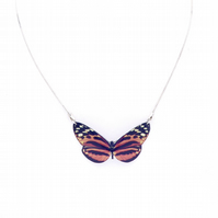 Orange Heliconia Butterfly Necklace (Aluminium)