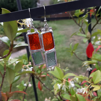 Vibrant, red and pale blue, stained glass earrings. Different and quirky