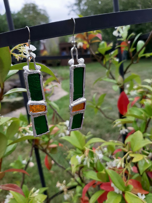 Different, stunning, stained glass earrings. One off and quirky earrings.