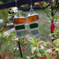 Multicoloured, bold, stained glass earrings. One off and quirky earrings.