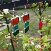 Multi coloured, vibrant, stained glass earrings. One off and quirky.
