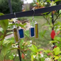 Blue and amber, bold, stained glass earrings. One off and quirky earrings.