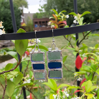 Stained glass earrings. Beautiful blues. Different and quirky earrings.