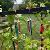 Beautiful, kingfisher colours, stained glass earrings. Different and quirky.