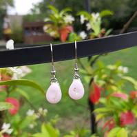 Pretty, pale pink, dichroic, fused glass earrings. Feminine earrings