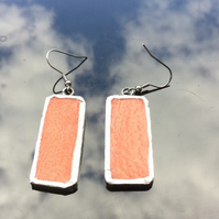 Vibrant orange, stained glass earrings. One off earrings.