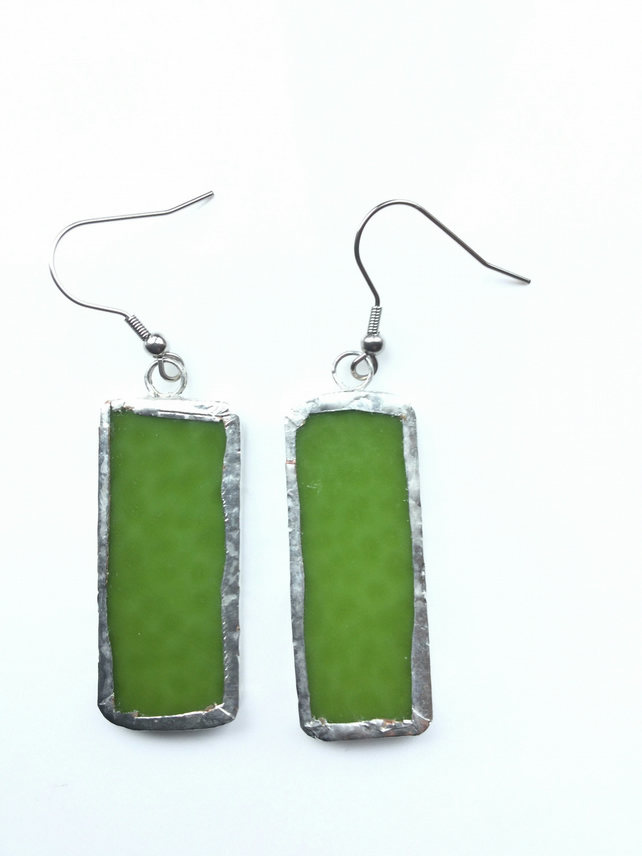 Pretty, mid green, stained glass earrings. Bold and quirky earrings.
