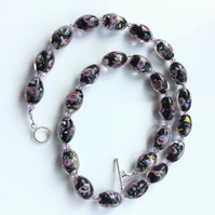 Pretty. pink and black lampwork bead necklace. Succulent necklace