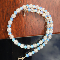 Pretty, Opalite and Crackle Glass Necklace. Succulent necklace.