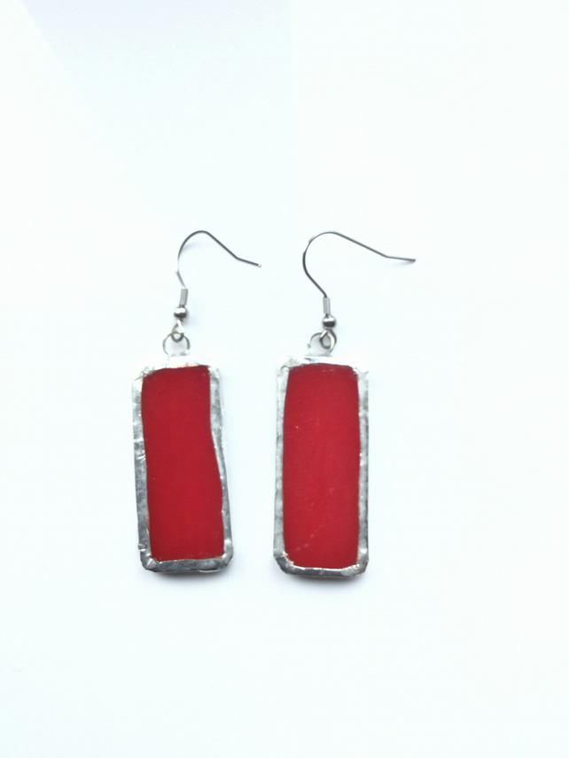 Bright red, stained glass earrings. Bold and quirky earrings.